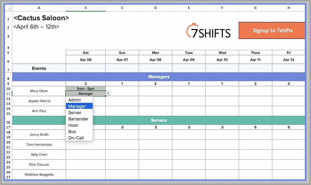 Template For Scheduling Employees Free