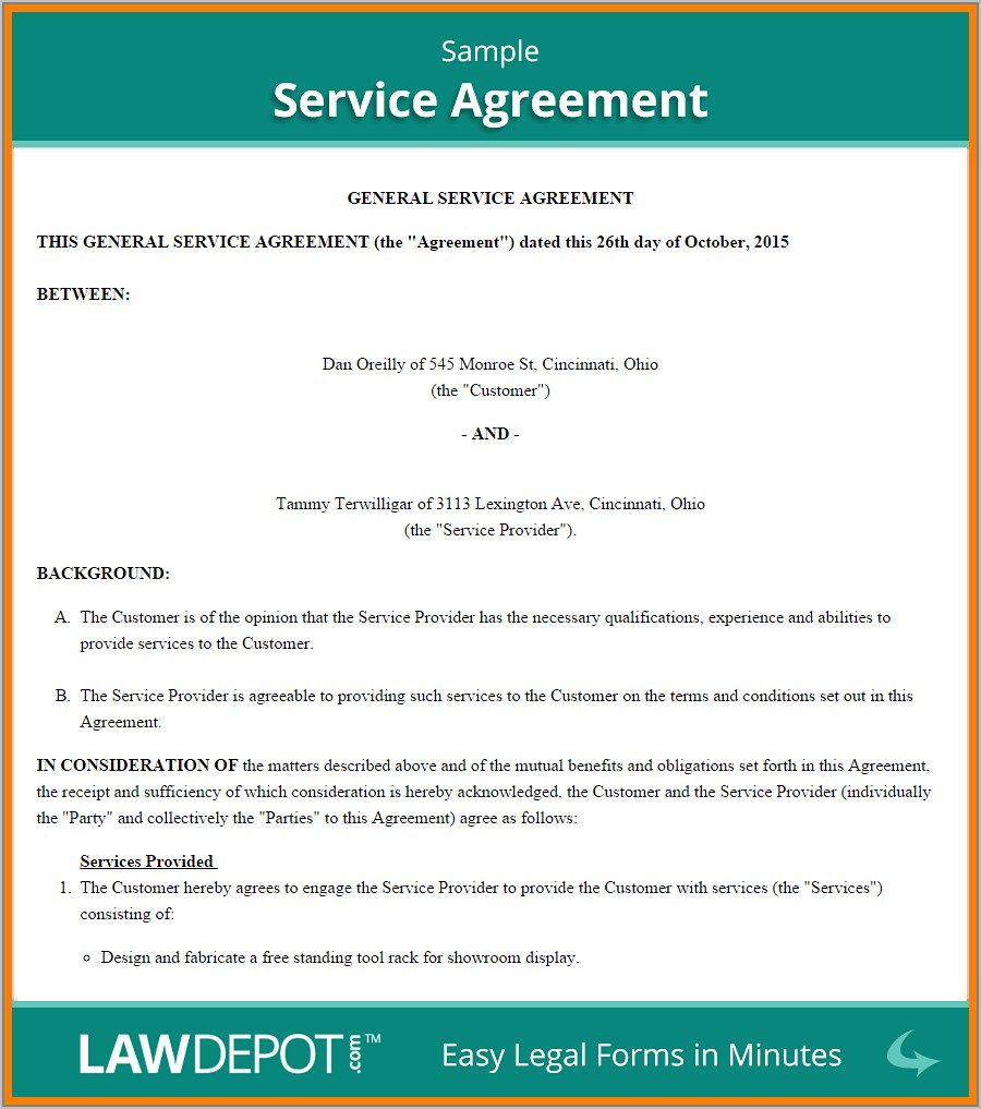 Template For Service Contract Agreement