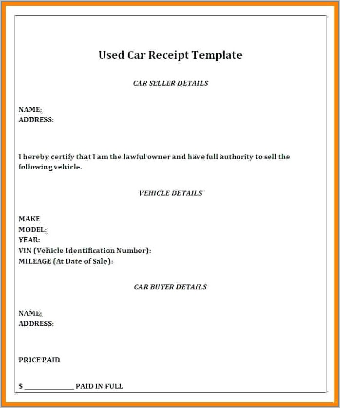 Template For Used Car Sales Receipt