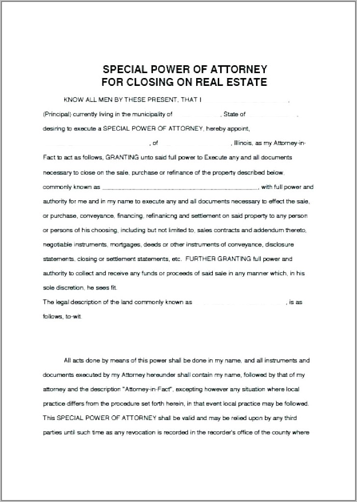 Template Power Of Attorney For Real Estate