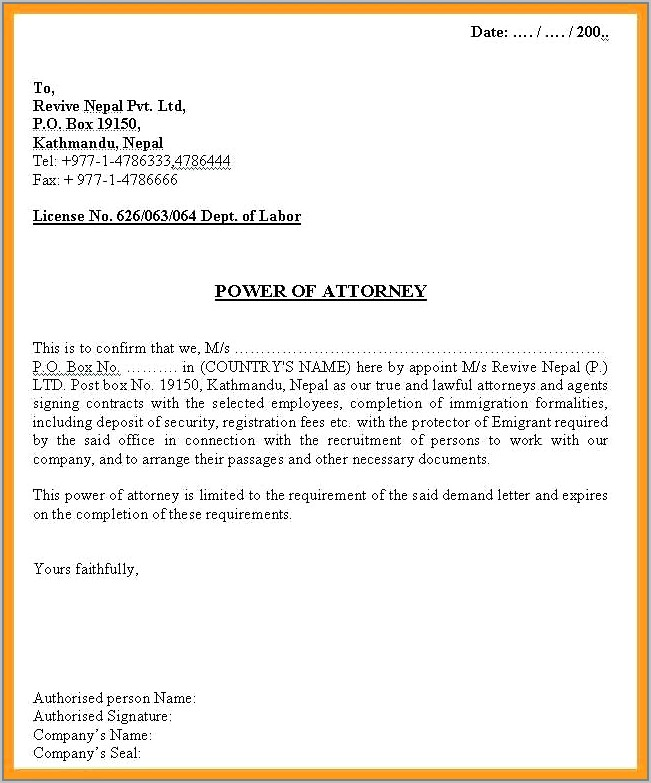 Template Power Of Attorney Letter Uk