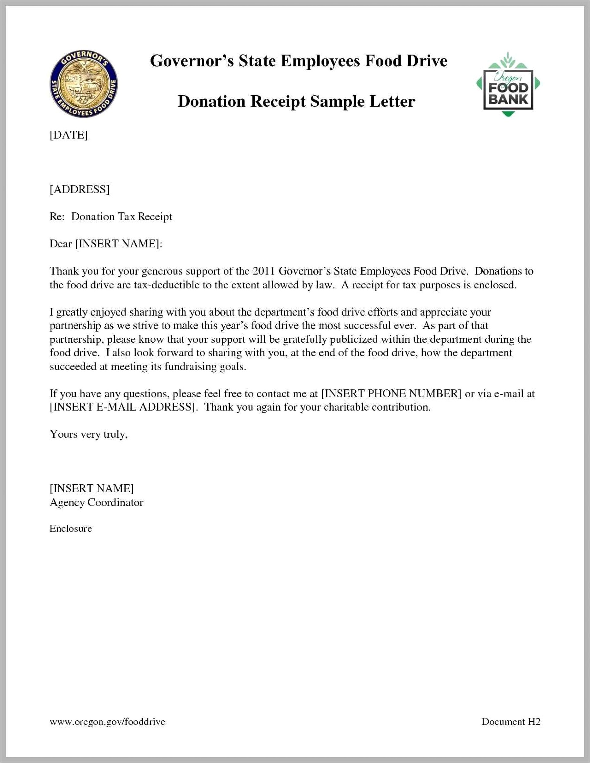 Template Sample Donation Acknowledgement Letter