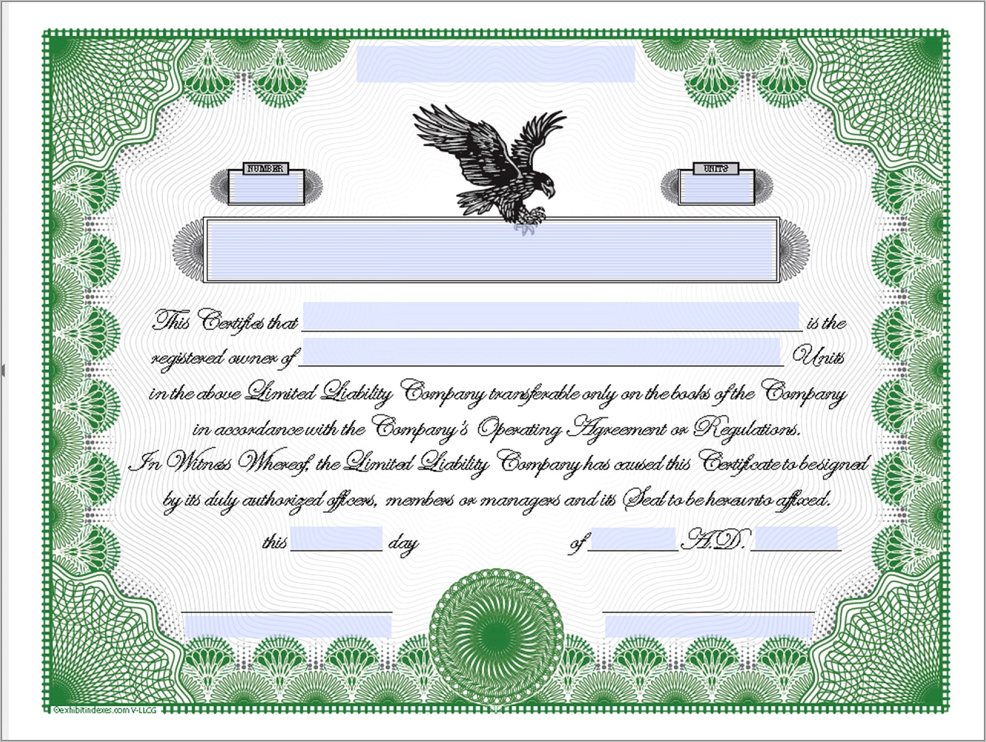 Template Stock Certificate Form