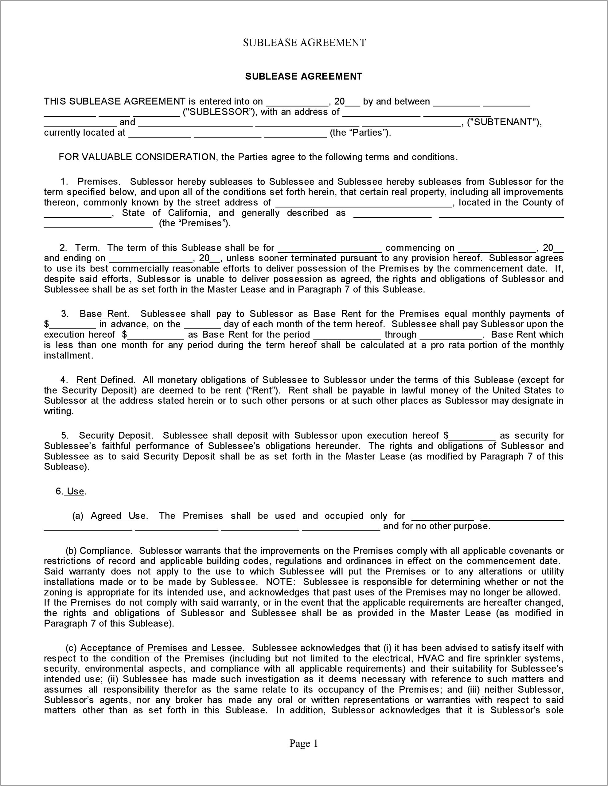 Template Sublease Agreement Residential
