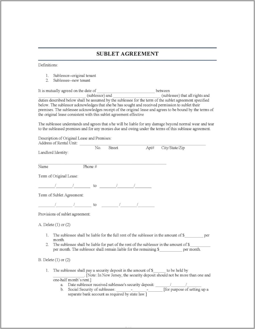 Template Sublet Agreement Uk
