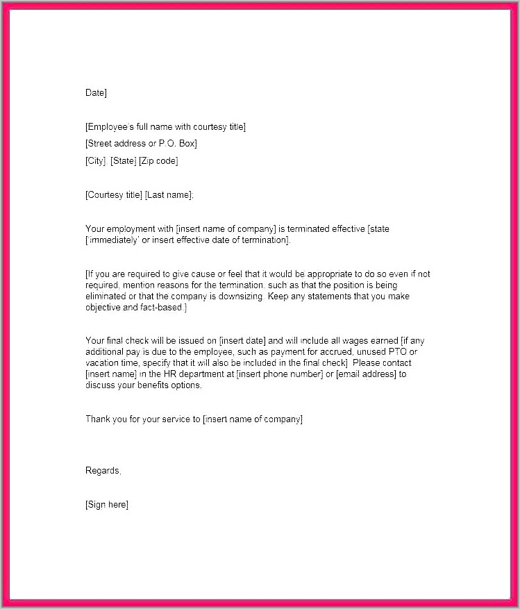 Template Termination Of Employment Letter Uk