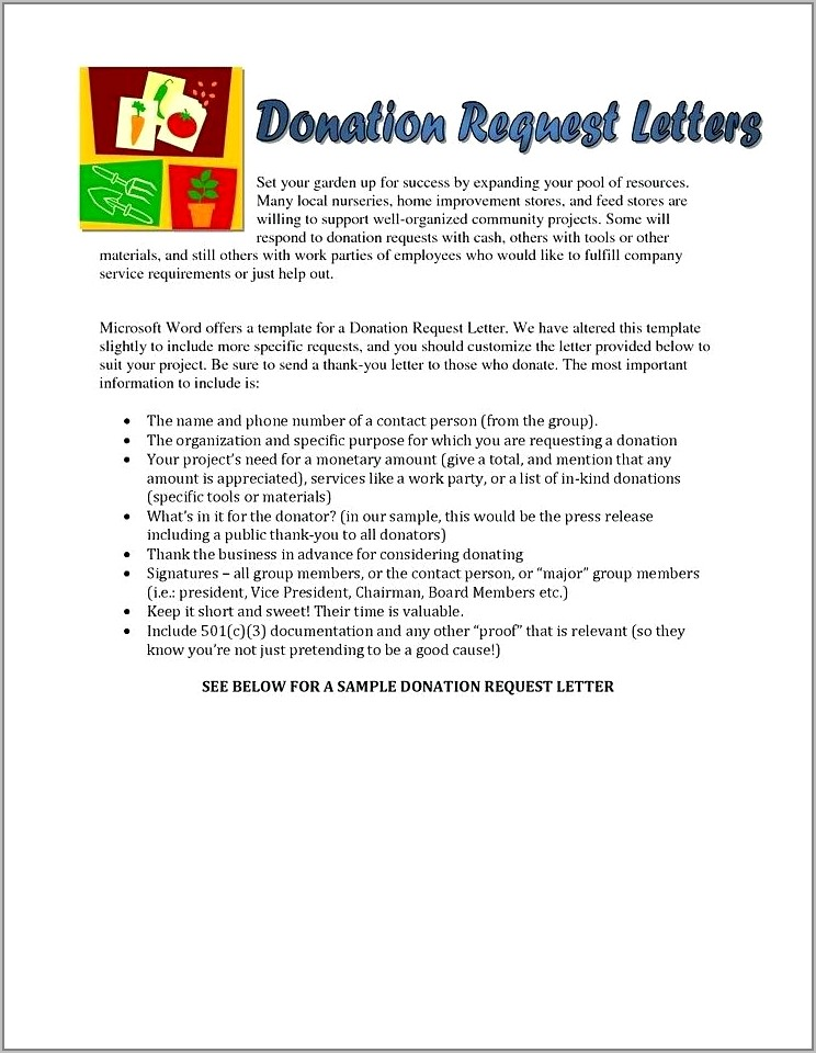 Templates For Donation Request Letters