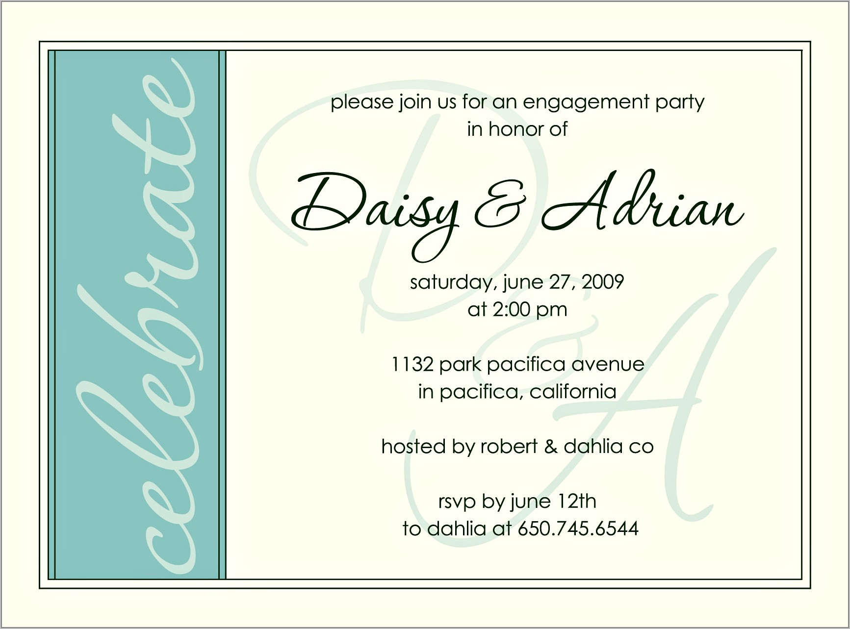 Templates For Engagement Invitations