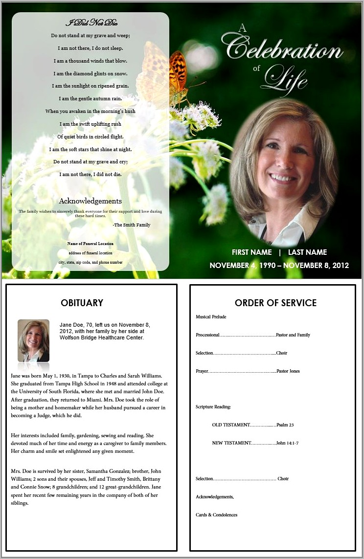 Templates For Funeral Program