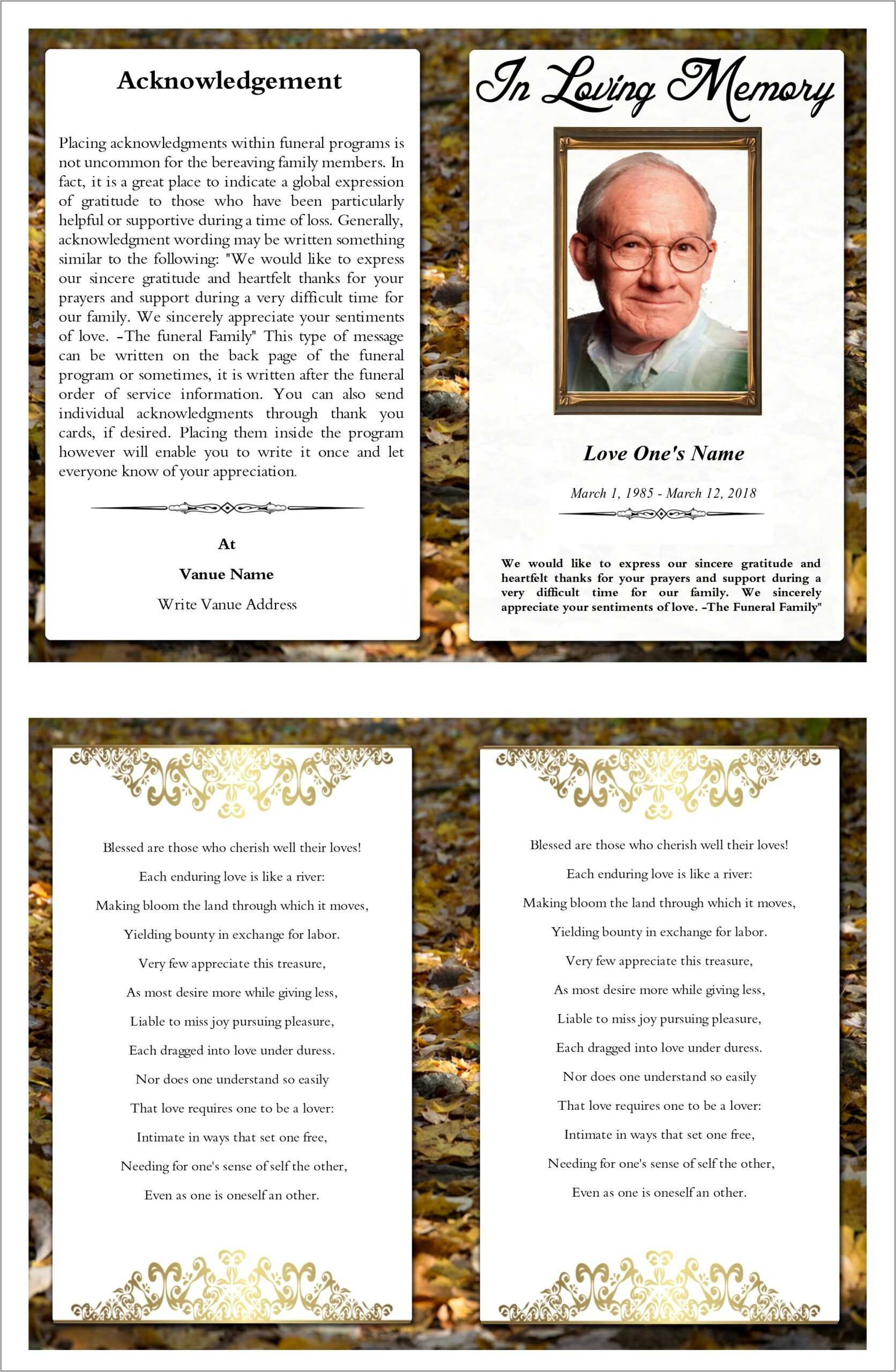 Templates For Funeral Programs Free