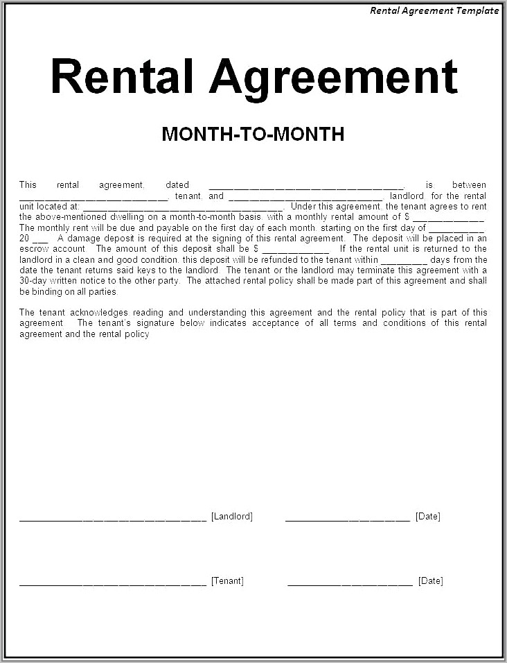 Templates For Lease Agreements