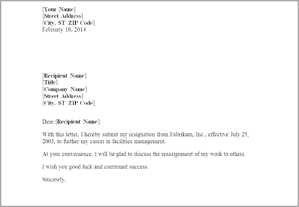 Templates For Resignation Letter Short Notice
