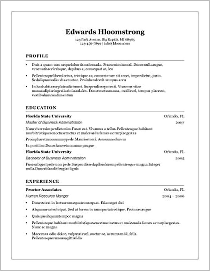Templates For Resumes Open Office
