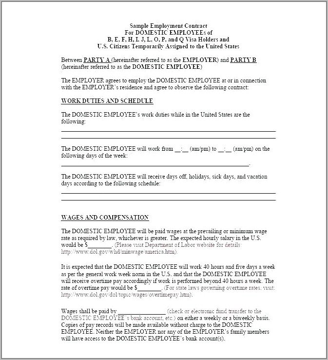 Temporary Employee Contract Samples