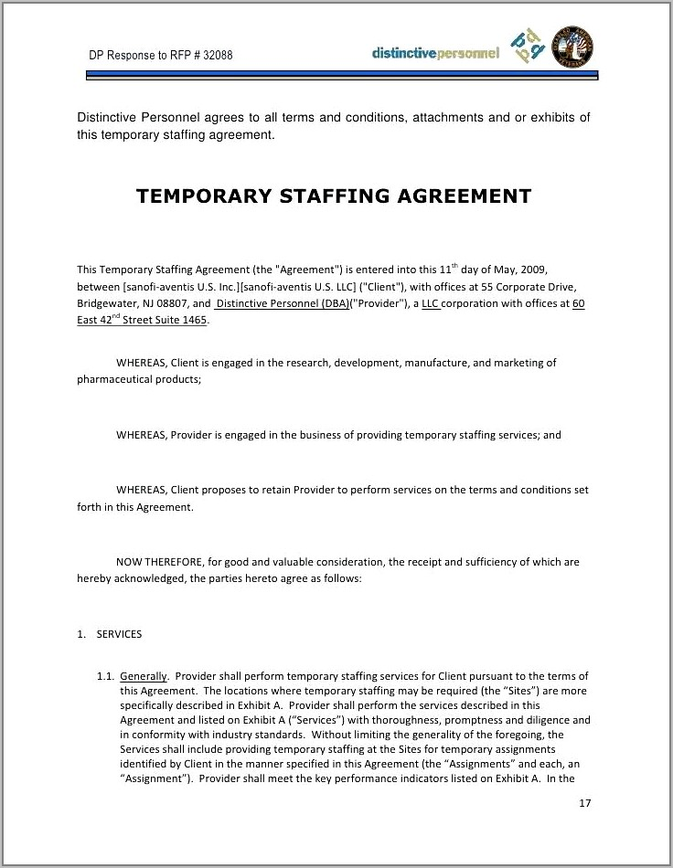 Temporary Employee Contract Template