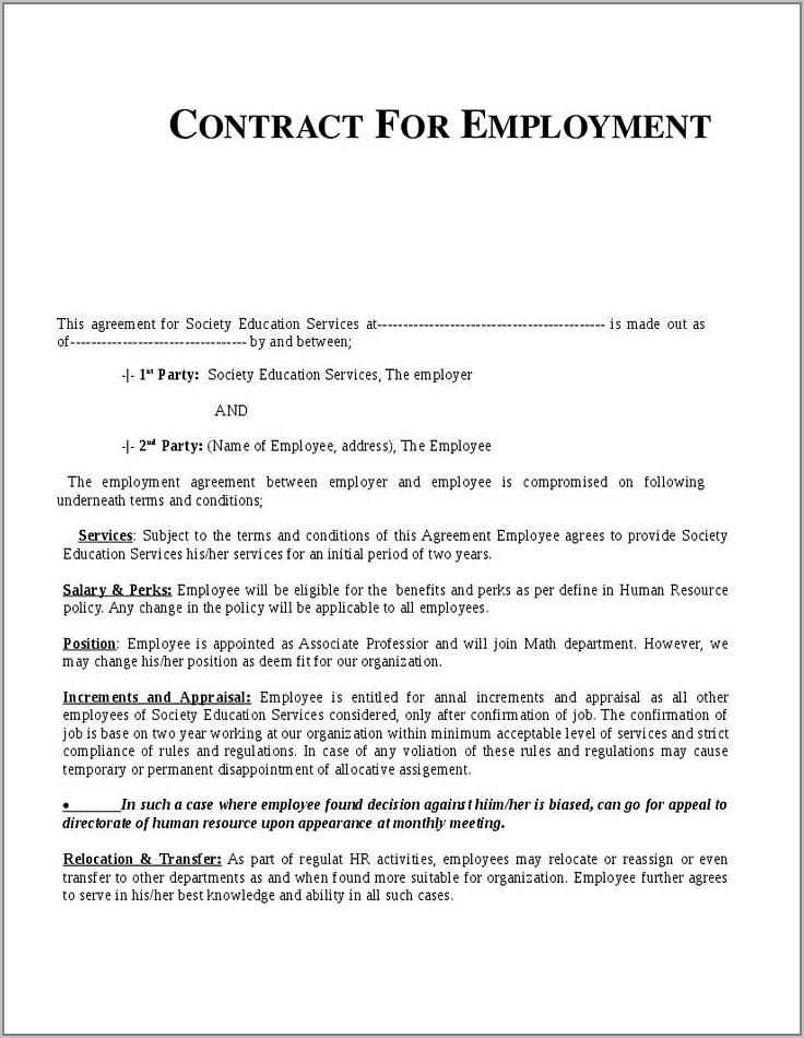 Temporary Employment Contract Template India