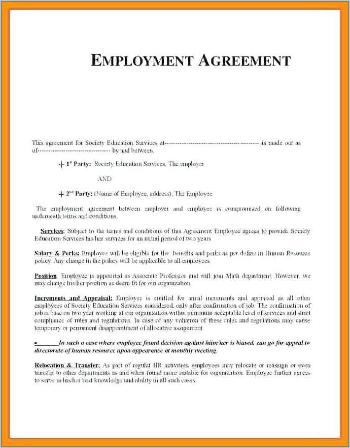 Temporary Employment Contract Template Pdf