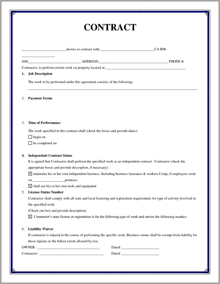 Temporary Employment Contract Template Uk