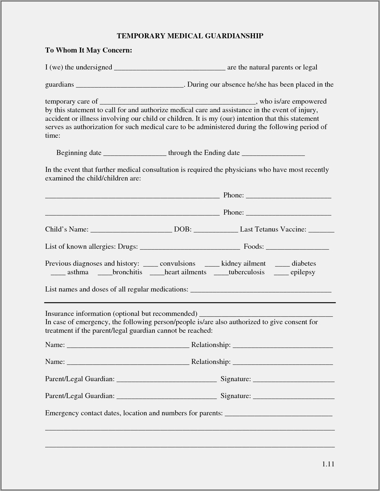 Temporary Guardianship Letter For School Illinois