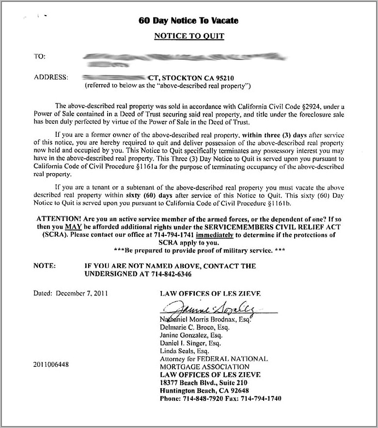 Tenant 30 Day Notice To Vacate Form