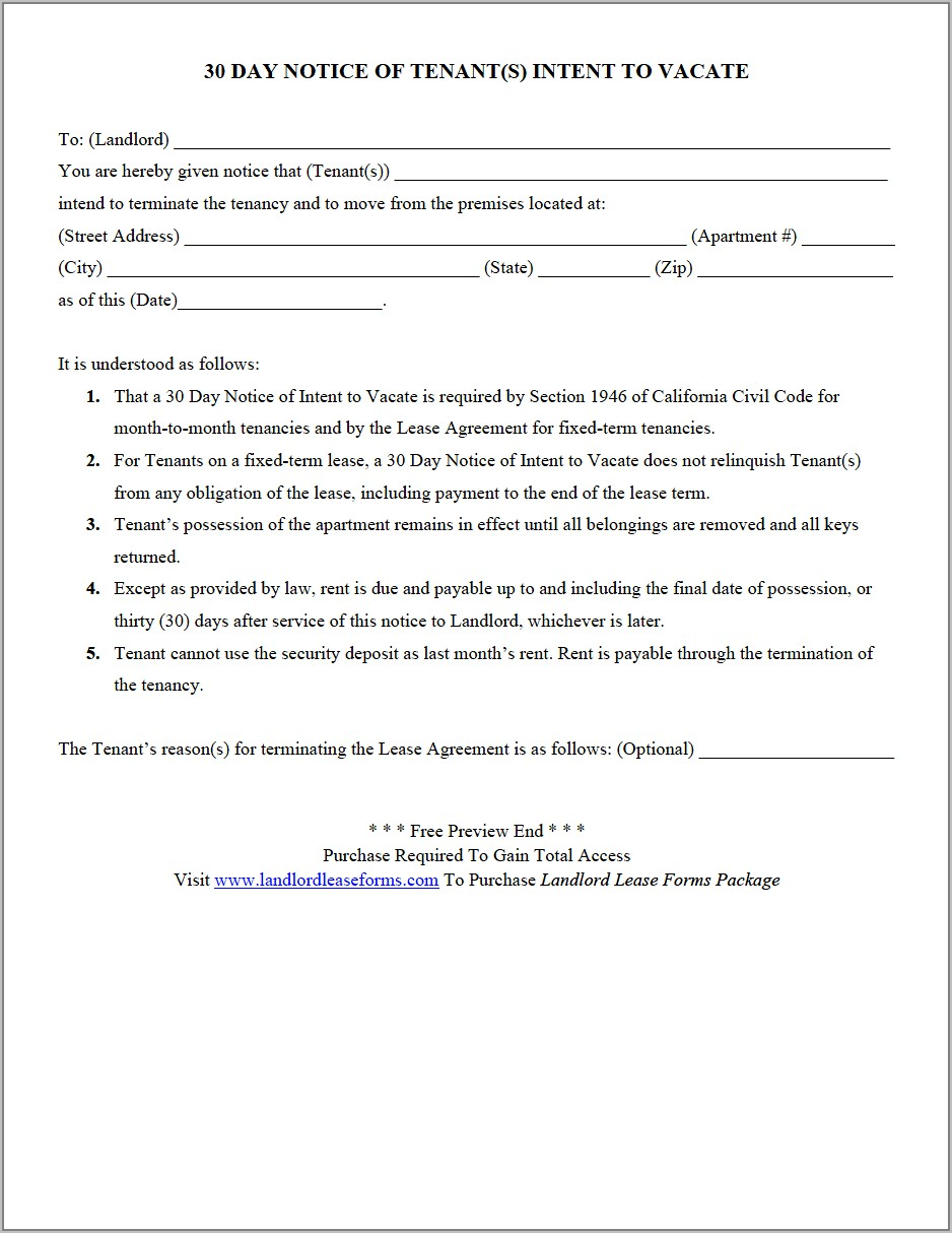 Tenant 30 Day Notice To Vacate Template