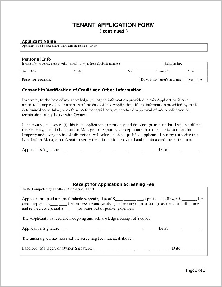 Tenant Application Form Template South Africa