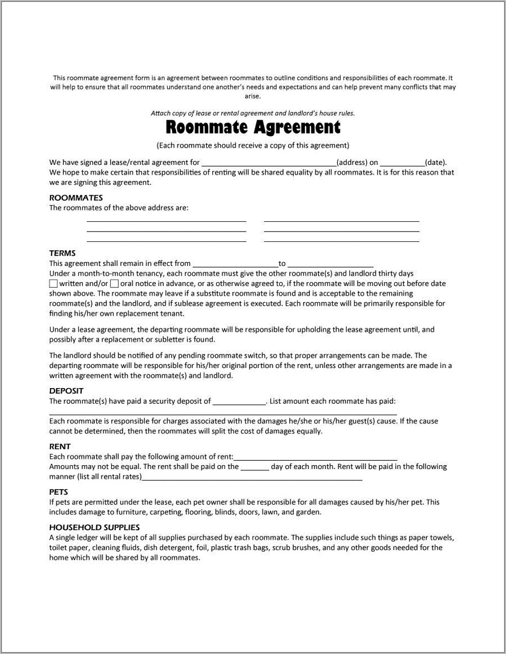 Tenant Contract Template South Africa