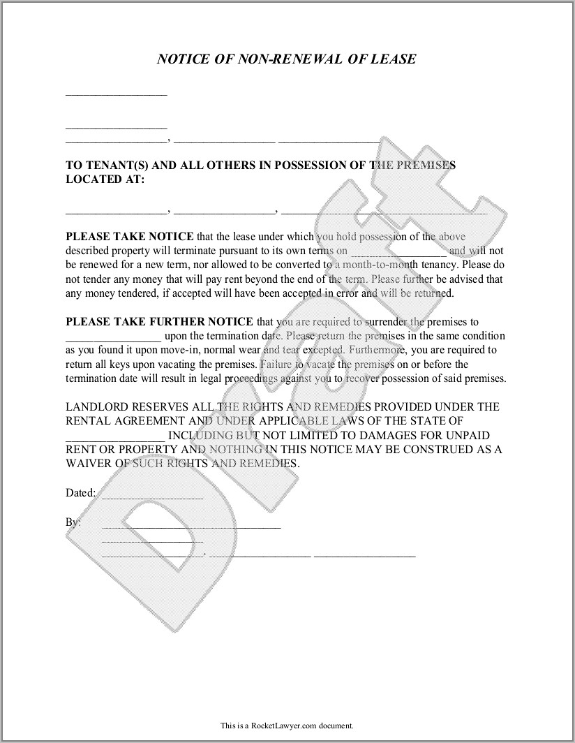 Tenant Move Out Template