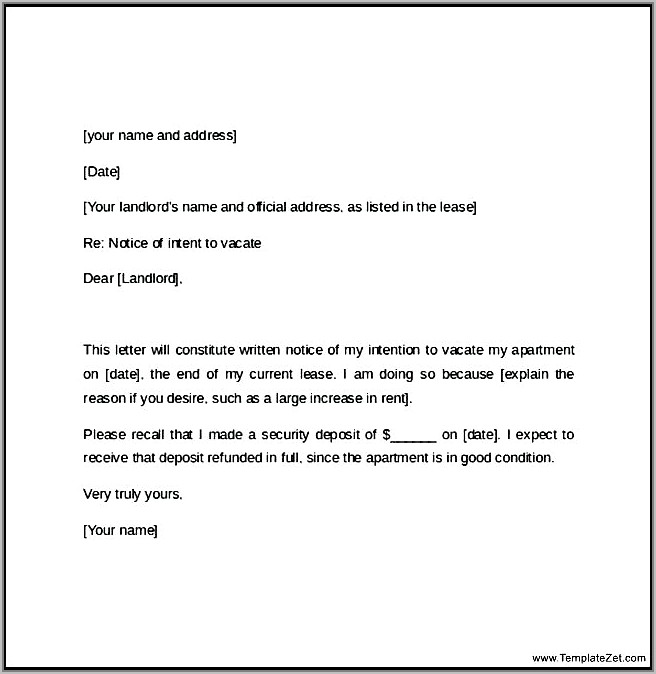 Tenant Notice Letter Example