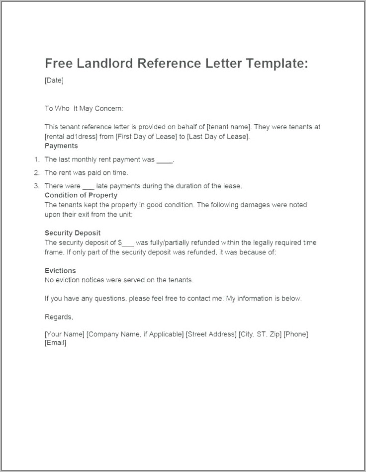 Tenant Reference Form Template Uk