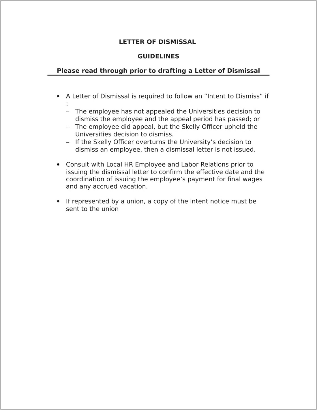 Terminating Employment Contract Sample Letter
