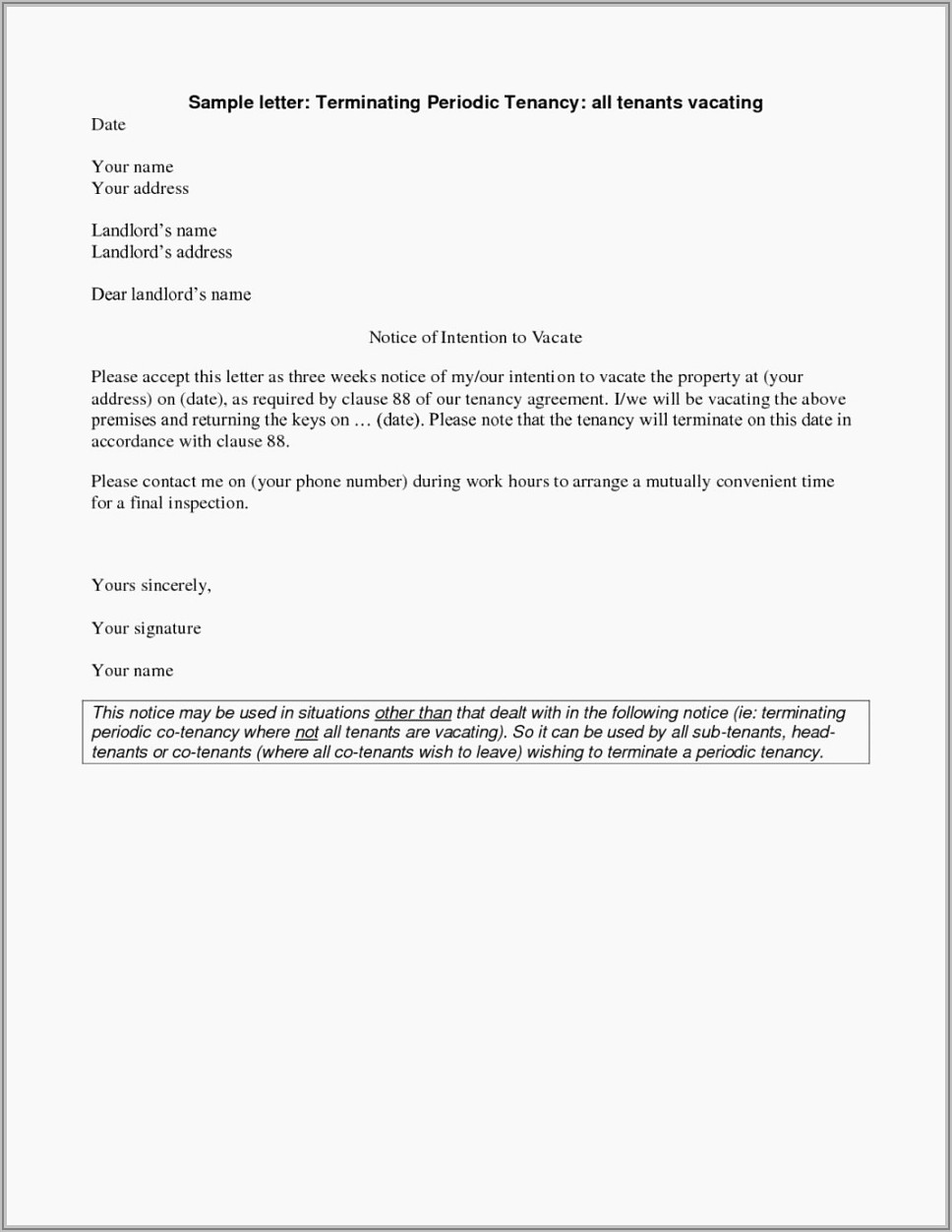 Termination Of Tenancy Letter Template Uk