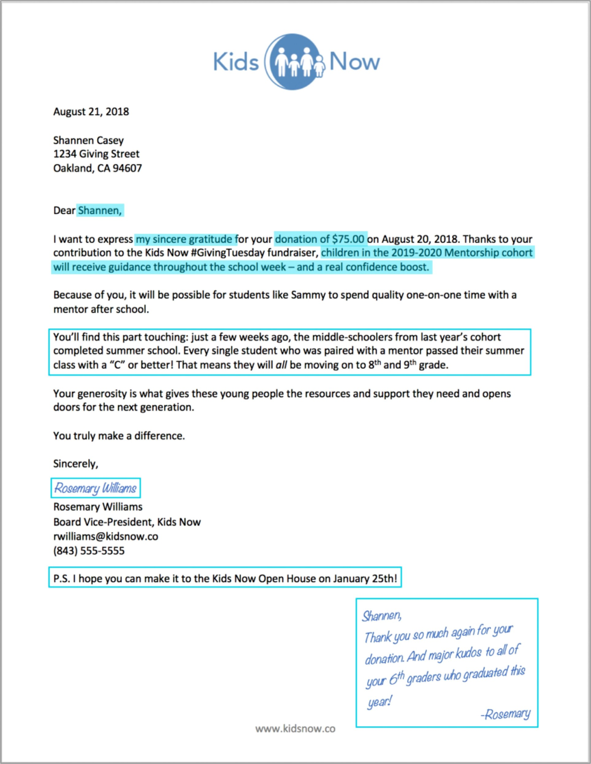 Thank You Donation Letter Examples