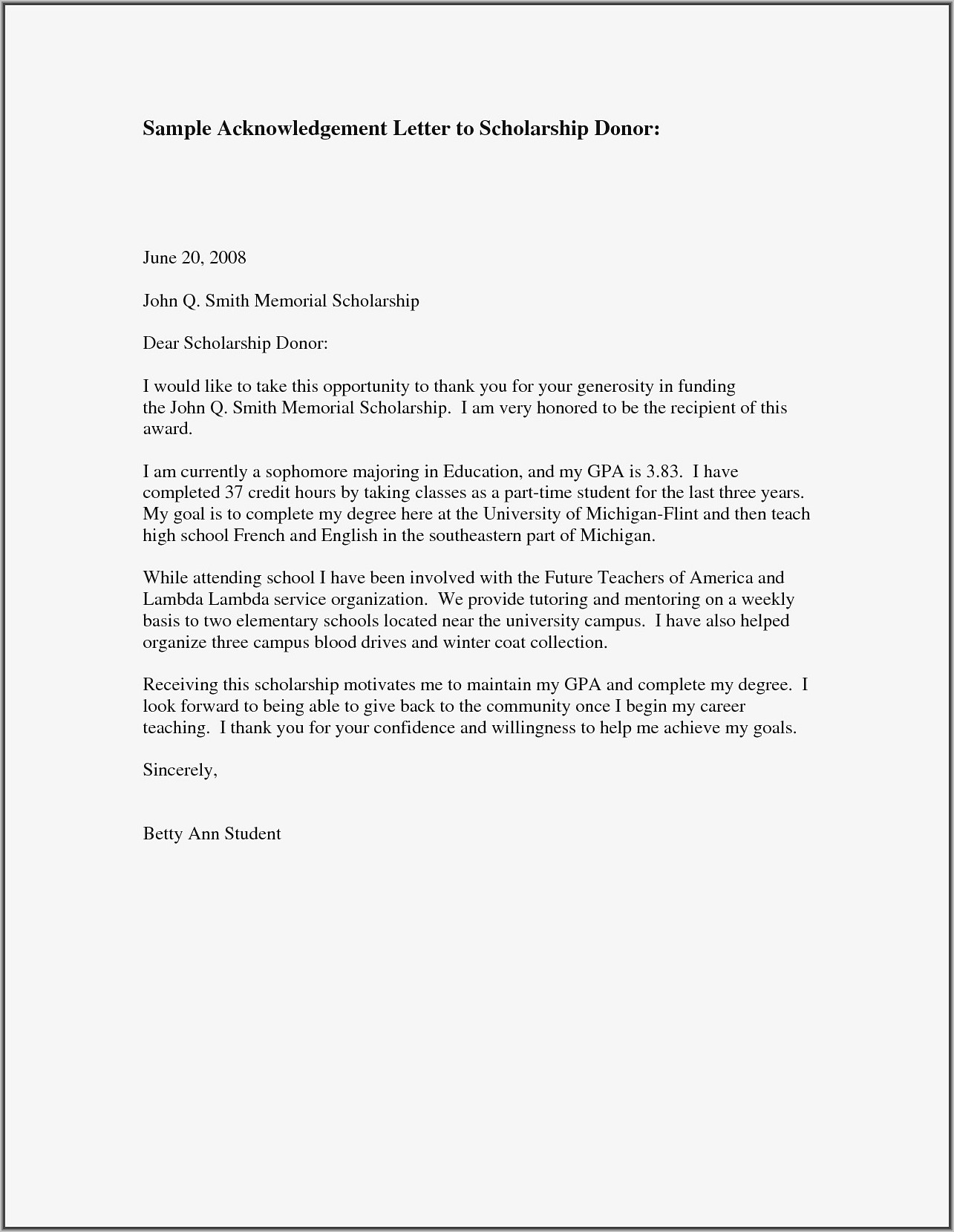 Thank You Donor Letter Examples