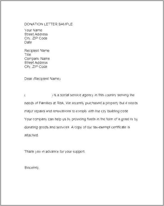 Thank You For Your Donation Letter Sample