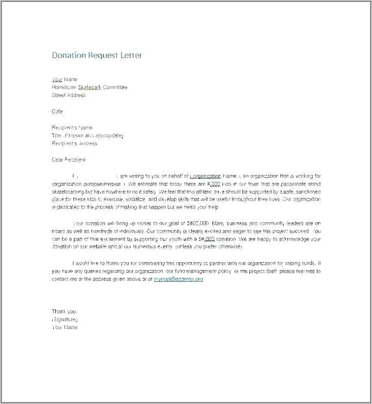 Thank You Letter Example Fundraising