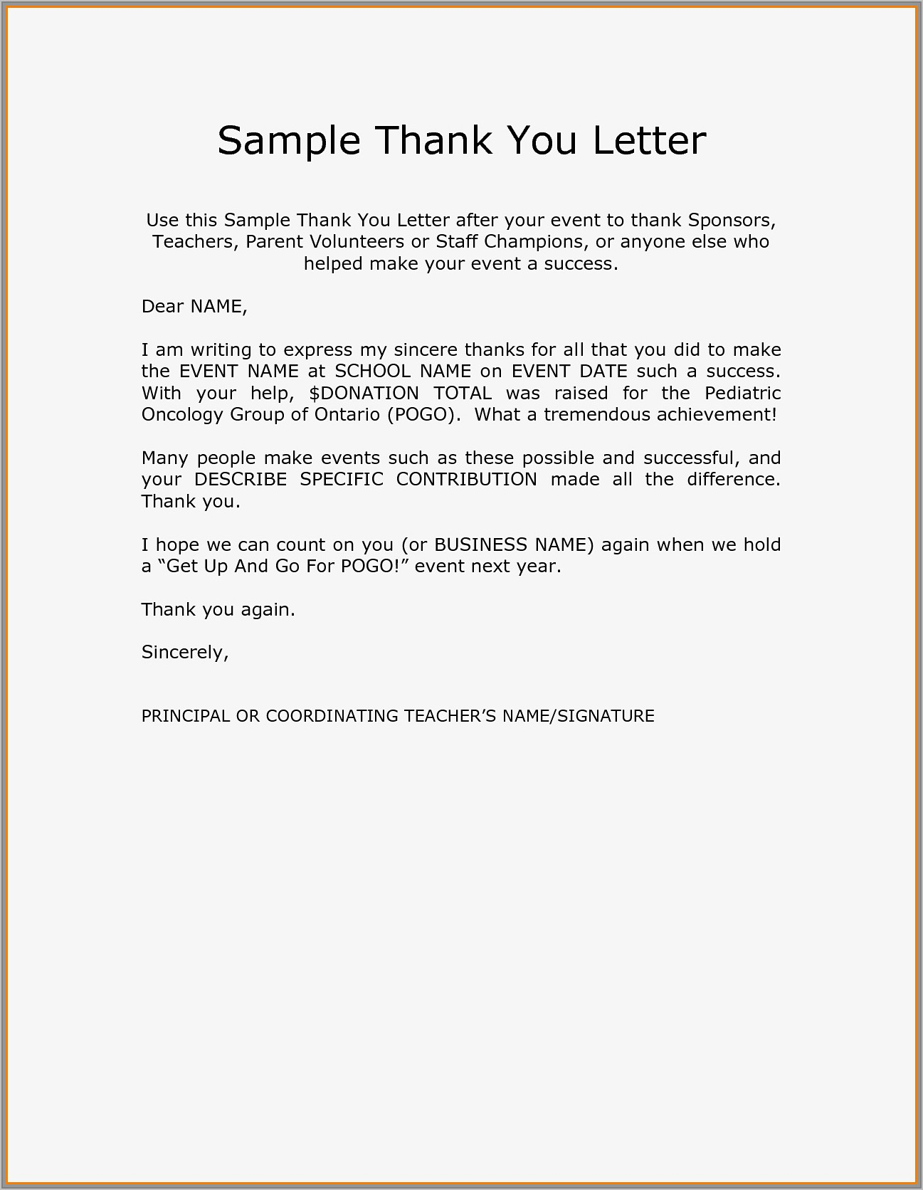 Thank You Letter For Donations Template