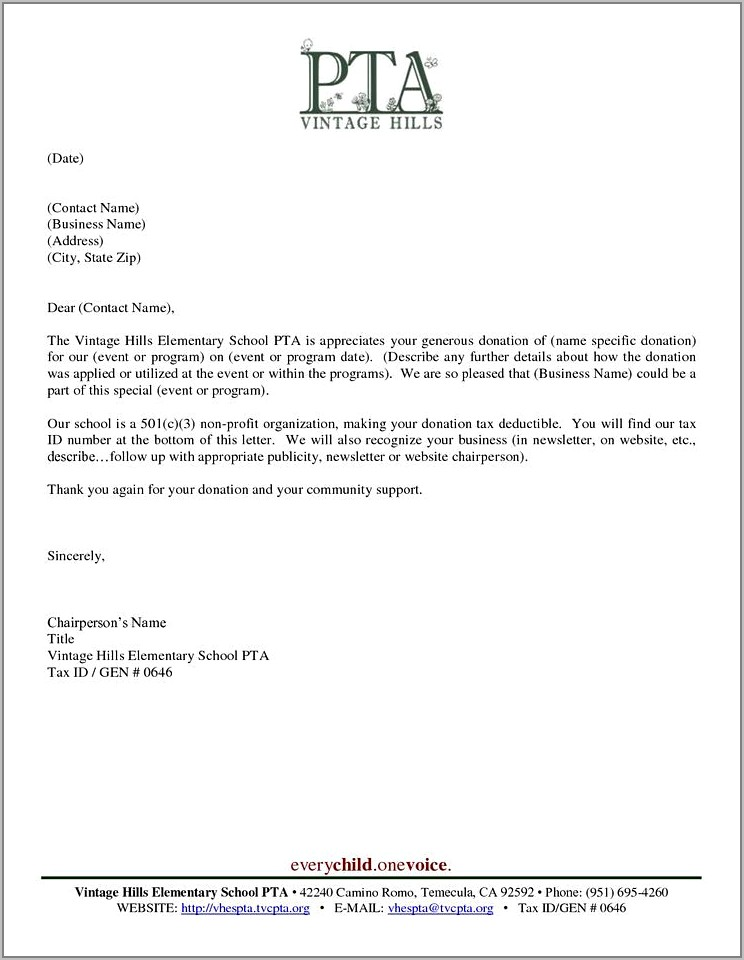 Thank You Letter For Donations To School