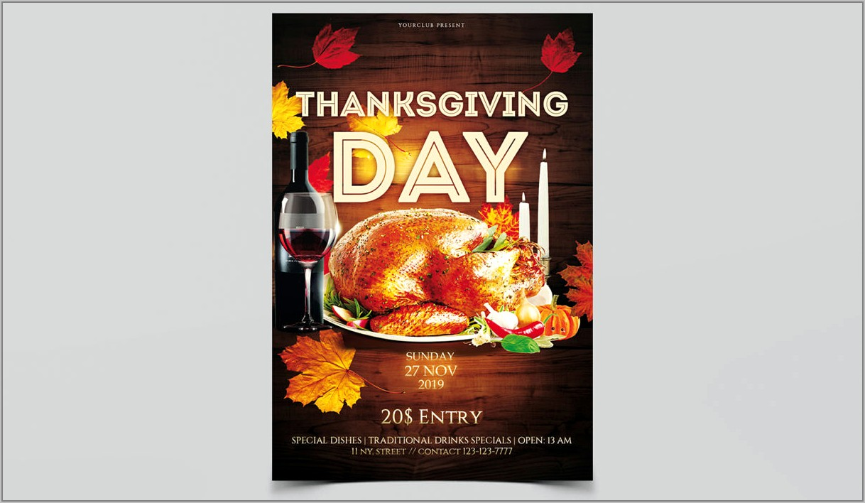 Thanksgiving Day Flyer Templates Free