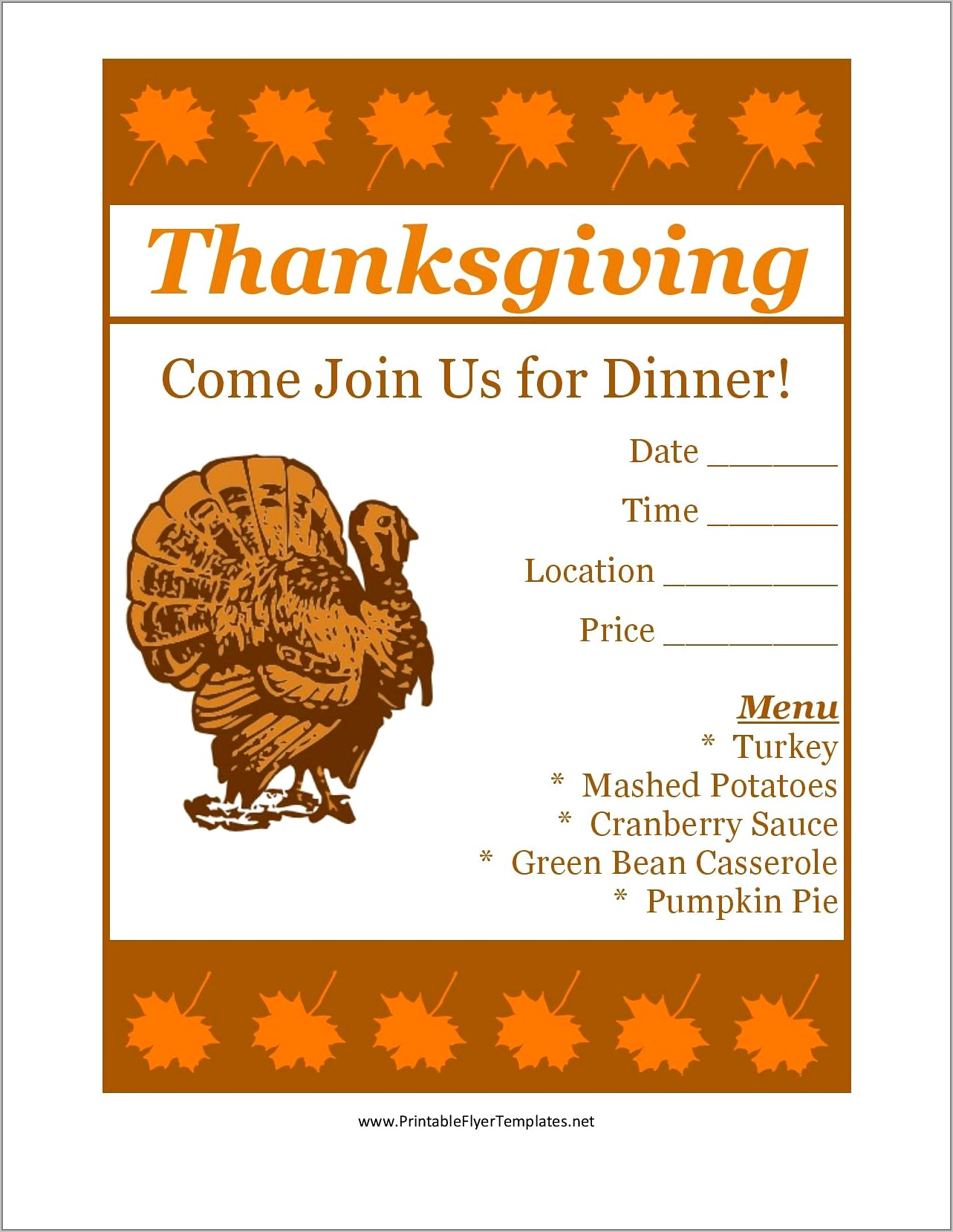 Thanksgiving Flyers Free Templates