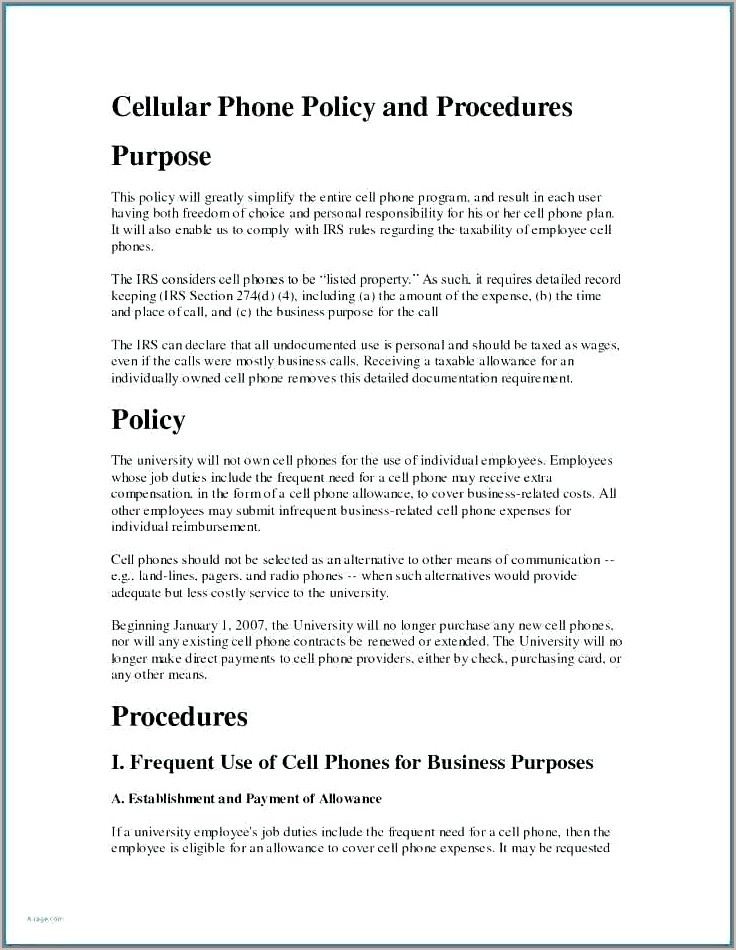 Travel And Expense Policy Template Procedure