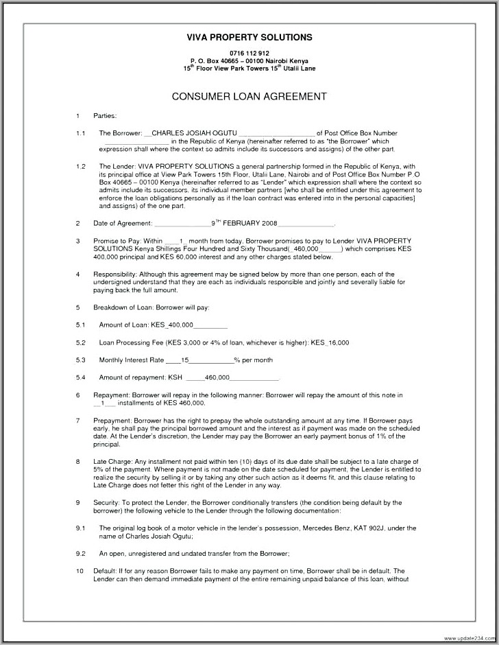 Unsecured Promissory Note Agreement