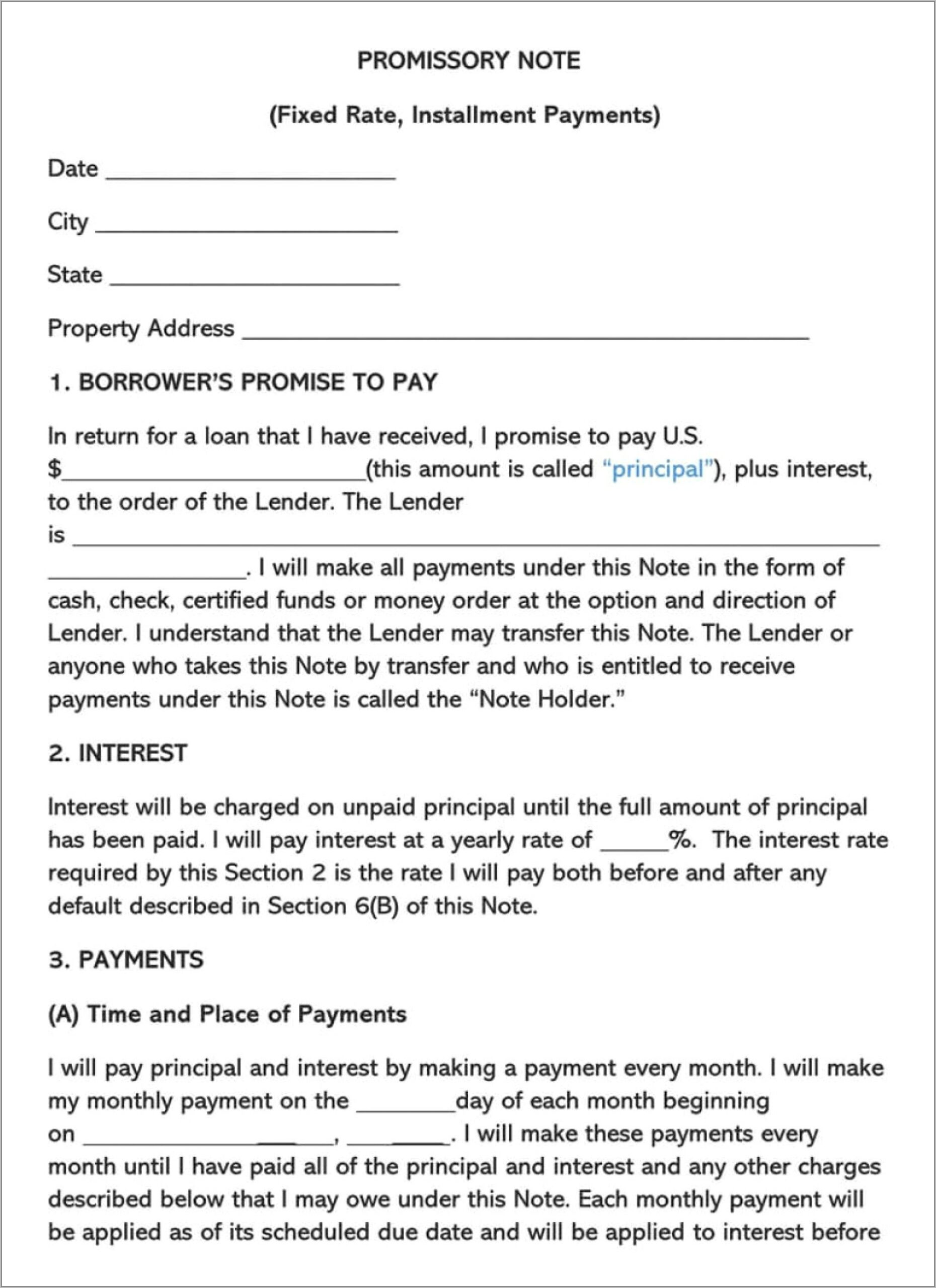Unsecured Promissory Note Template Texas