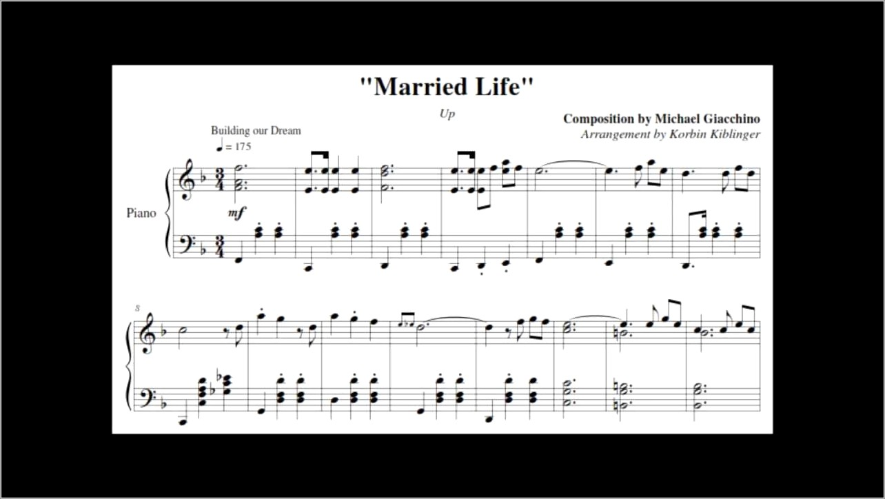 Up Married Life Piano Notes Letters
