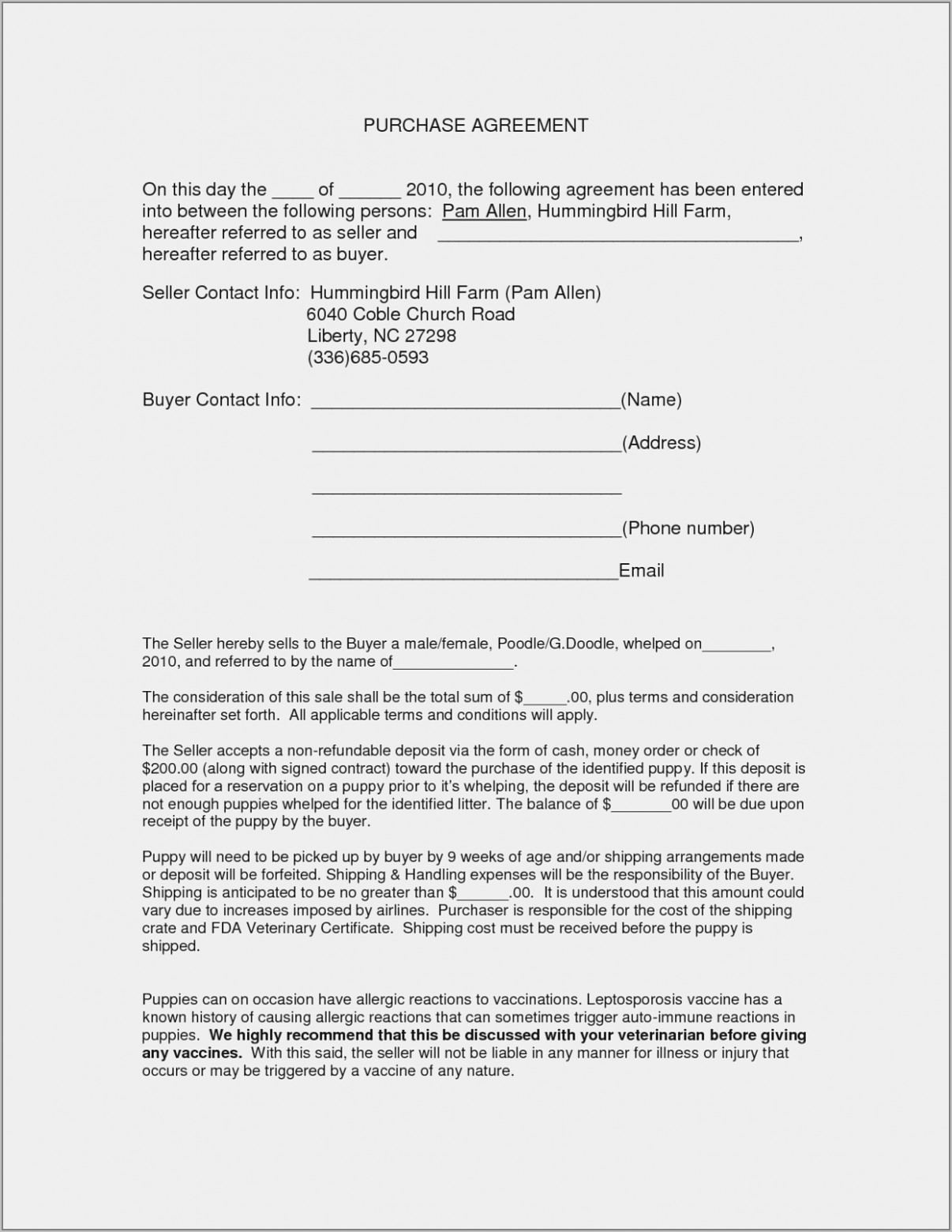 Used Car Contract Form