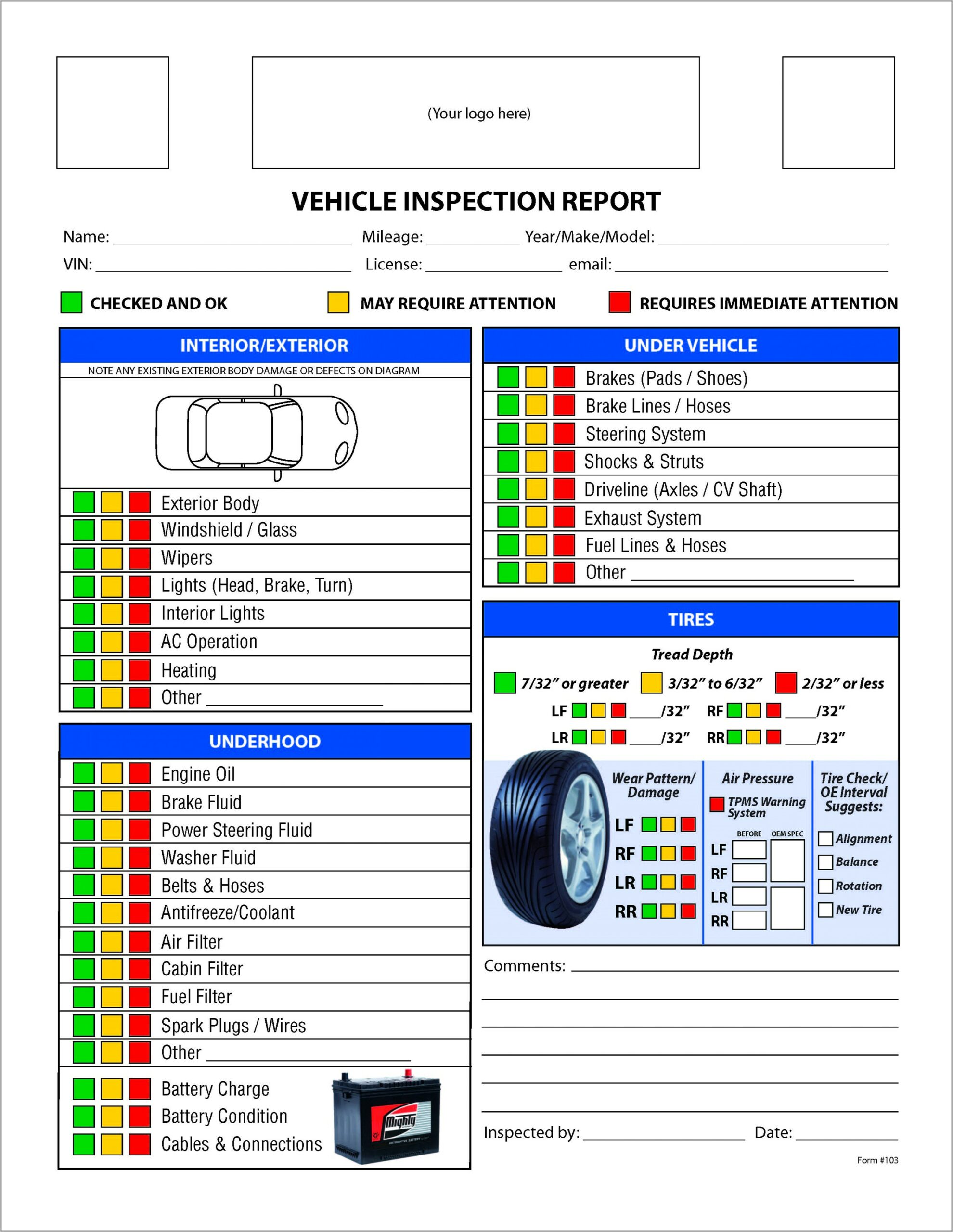Used Car Inspection Checklist Form