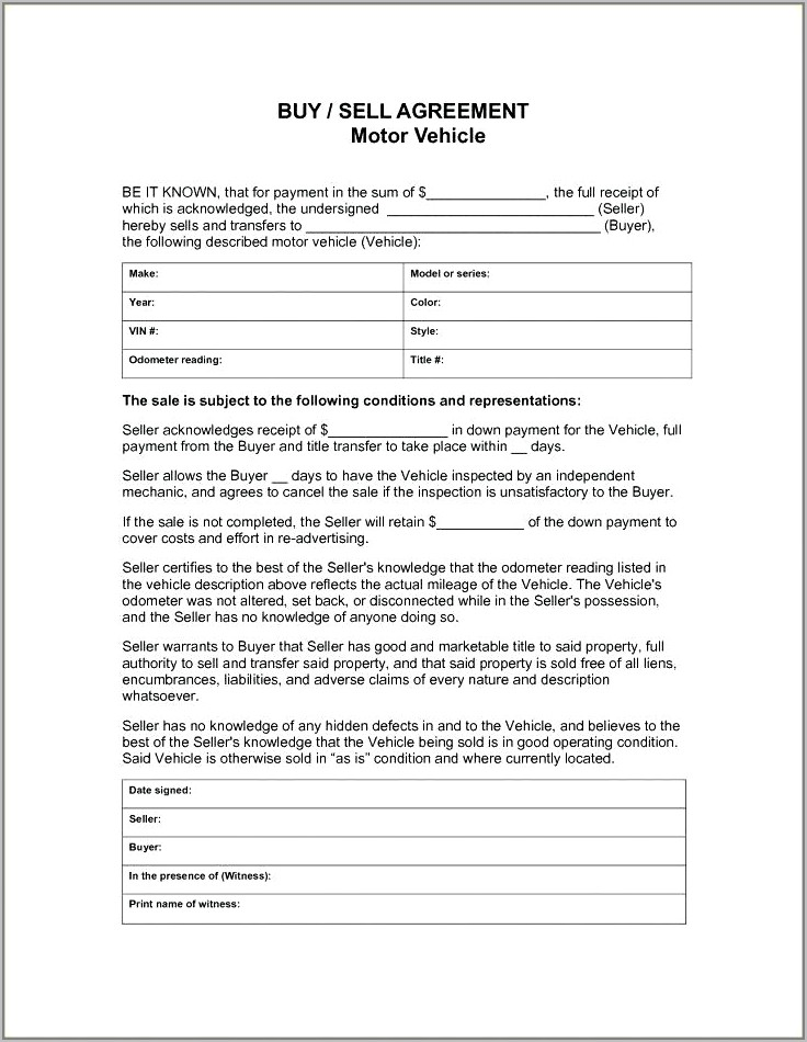Used Car Sale Contract Template Pdf