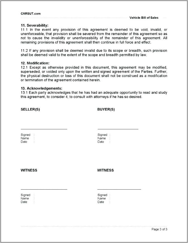 Used Car Sale Contract Template Uk
