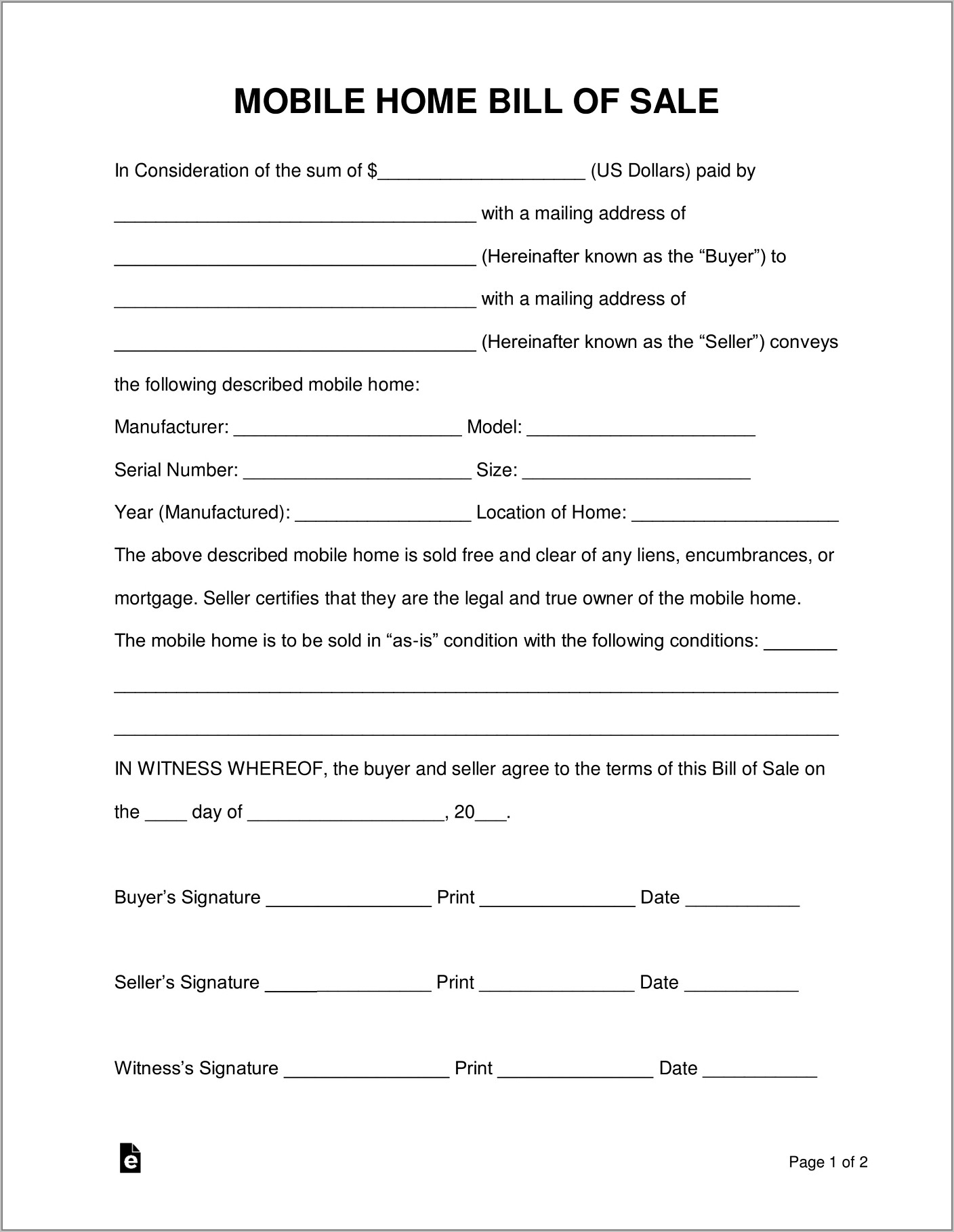 Used Car Sales Agreement Contract