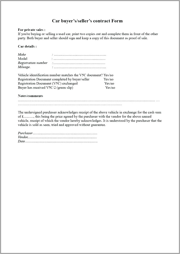 Used Car Sales Agreement Template Uk